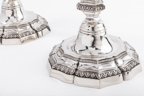 Antiquités - A. AUCOC (1856-1911) Pair of nineteenth solid silver candelabra