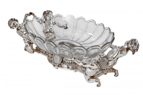 CHRISTOFLE (C.C. 1863) Planter in silver-plated bronze and its crystal bowl