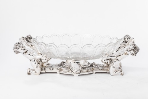 Antiquités - CHRISTOFLE (C.C. 1863) Planter in silver-plated bronze and its crystal bowl