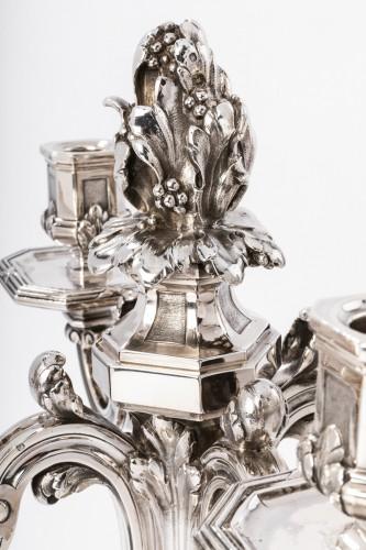 Ed. TETARD - Important pair of nineteenth solid silver candelabra - Napoléon III
