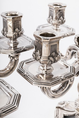 Napoléon III - Ed. TETARD - Important pair of nineteenth solid silver candelabra
