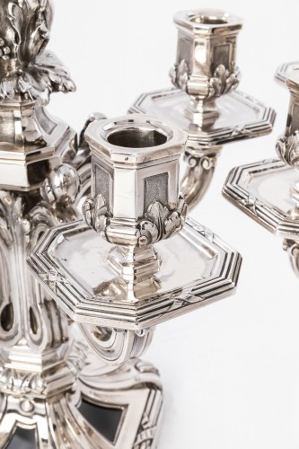 Antiquités - Ed. TETARD - Important pair of nineteenth solid silver candelabra