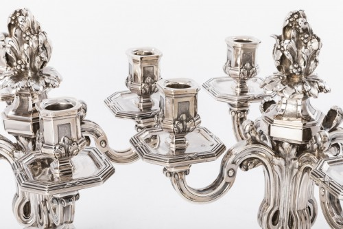 Antiquités - Ed. TETARD - Important pair of nineteenth silver candelabra