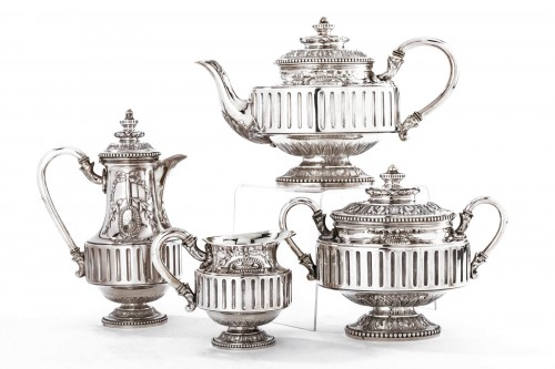 Goldsmith Gustave ODIOT - Set tea coffee 4 pieces in silver XIXth