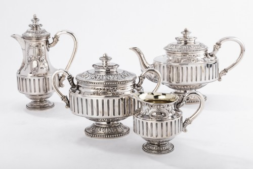 Goldsmith Gustave ODIOT - Set tea coffee 4 pieces in silver 19th century - Antique Silver Style Napoléon III