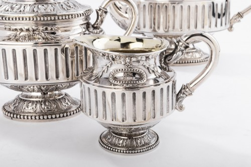 Antique Silver  - Goldsmith Gustave ODIOT - Set tea coffee 4 pieces in silver 19th century