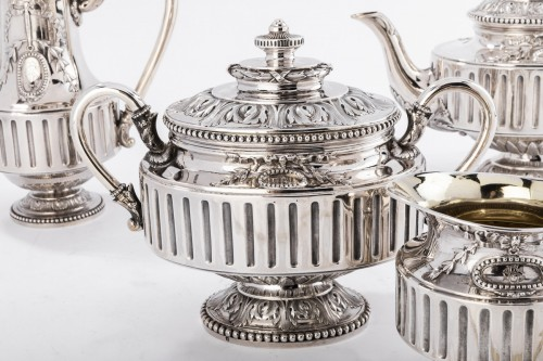 Goldsmith Gustave ODIOT - Set tea coffee 4 pieces in silver 19th century -