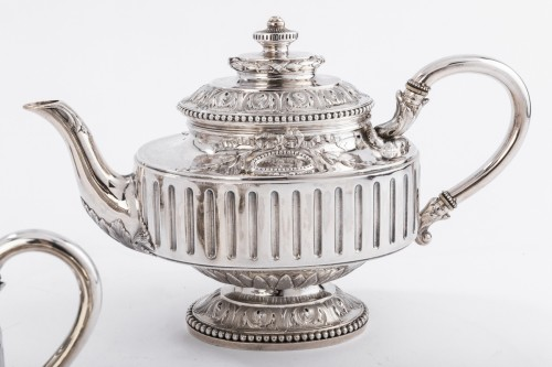 19th century - Goldsmith Gustave ODIOT - Set tea coffee 4 pieces in silver 19th century