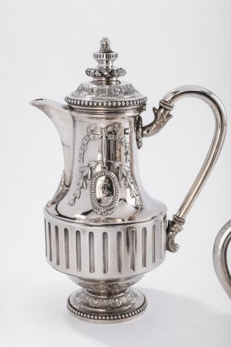 Goldsmith Gustave ODIOT - Set tea coffee 4 pieces in silver 19th century - Napoléon III