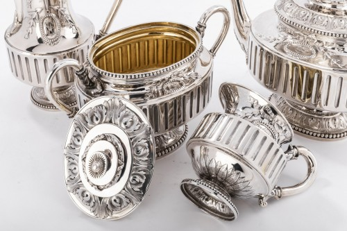 Napoléon III - Goldsmith Gustave ODIOT - Set tea coffee 4 pieces in silver 19th century