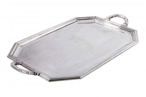 Solid silver tray from Art deco period signed CHRISTOFLE