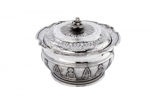CARDEILHAC - Sugar bowl with lid in silver and vermeil late 19th