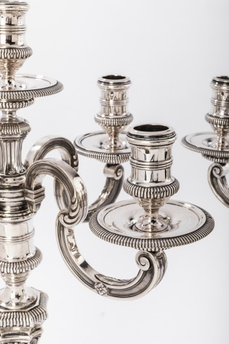 BOINTABURET - Pair of candelabra in sterling silver - Antique Silver Style Art Déco