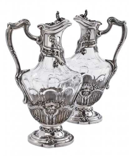 DEBAIN  - Pair of crystal ewer and solid silver late 19th