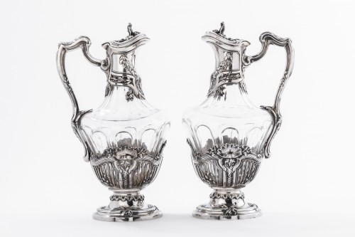 DEBAIN  - Pair of crystal ewer and solid silver late 19th -