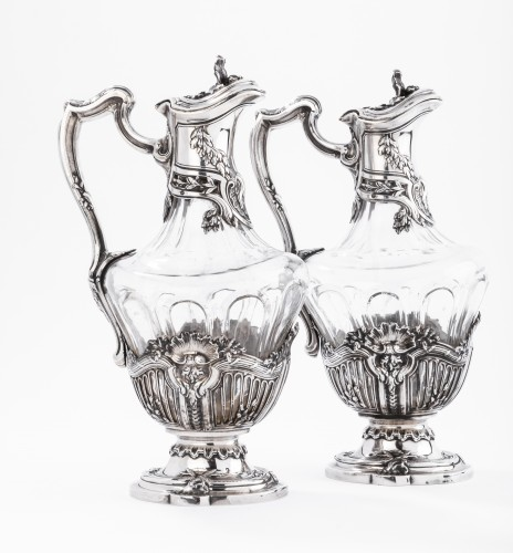 DEBAIN  - Pair of crystal ewer and solid silver late 19th - Art nouveau