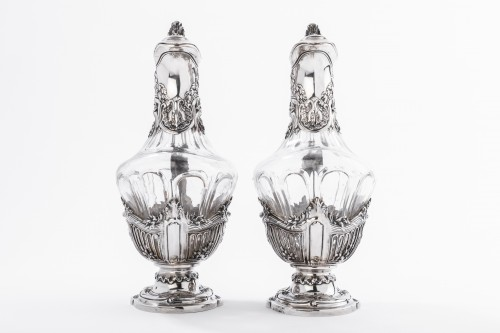 Antiquités - DEBAIN  - Pair of crystal ewer and solid silver late 19th