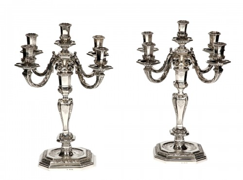 FOUQUET LAPAR - Pair of candlesticks in sterling silver 19th Regency