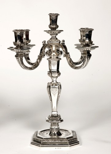 FOUQUET LAPAR - Pair of candlesticks in sterling silver 19th Regency - Antique Silver Style Napoléon III