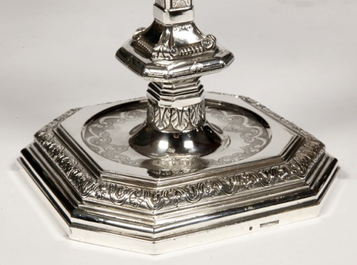 Napoléon III -  FOUQUET LAPAR - Pair of candlesticks in sterling silver 19th Regency