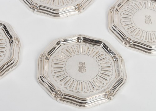 Silversmith A.AUCOC - Suite of four bottle coasters in solid silver XIXth - Antique Silver Style Napoléon III