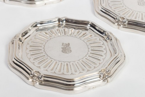 Antique Silver  - Silversmith A.AUCOC - Suite of four bottle coasters in solid silver XIXth