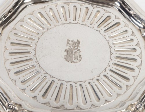 Silversmith A.AUCOC - Suite of four bottle coasters in solid silver XIXth -