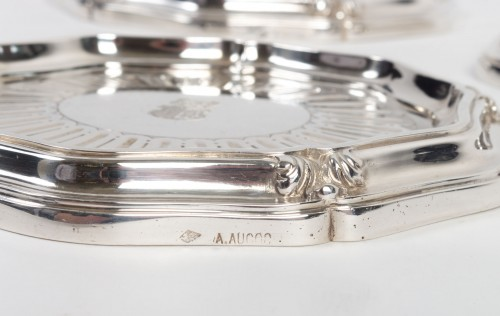 19th century - Silversmith A.AUCOC - Suite of four bottle coasters in solid silver XIXth