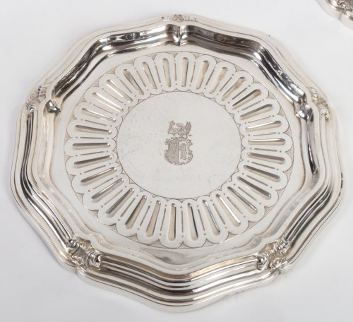 Antiquités - Silversmith A.AUCOC - Suite of four bottle coasters in solid silver XIXth