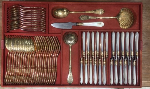 Antique Silver  - Silversmith Charles MERITE  Cutlery et in silver and vermeil 19th 193 piece