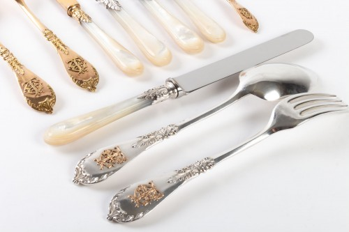 Silversmith Charles MERITE  Cutlery et in silver and vermeil 19th 193 piece - Napoléon III
