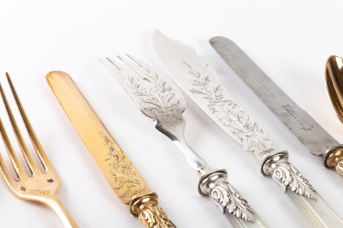 Antiquités - Silversmith Charles MERITE  Cutlery et in silver and vermeil 19th 193 piece