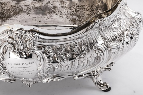 Goldsmith Armand GROSS - Rockery planter in solid silver 19th -