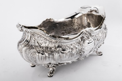 19th century - Goldsmith Armand GROSS - Rockery planter in solid silver 19th