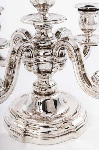 Art Déco - Goldsmith TETARD Frères - Pair of candelabra in sterling silver circa 1930