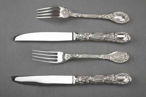 "Antiquités -  ODIOT - 236 solid silver cutlery ""MEISSONNIER"" set oak chest"