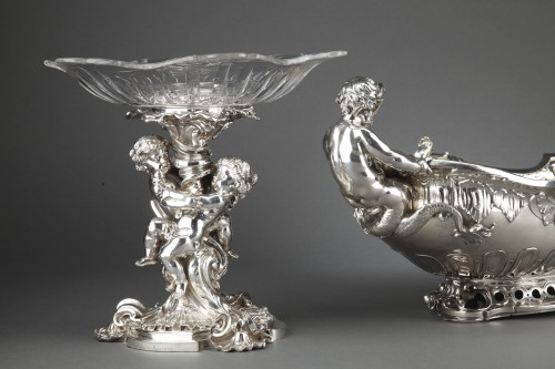 Goldsmith FROMENT MEURICE - Pair of 19th  crystal silvered bronze Presenters - Antique Silver Style Napoléon III