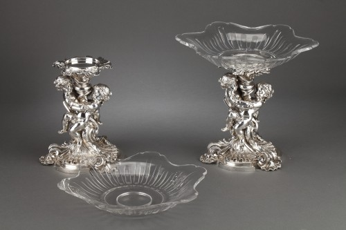 19th century - Goldsmith FROMENT MEURICE - Pair of 19th  crystal silvered bronze Presenters
