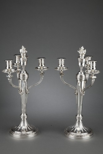 Goldsmith A. AUCOC - Pair of 19th century solid silver candelabra - Antique Silver Style Napoléon III
