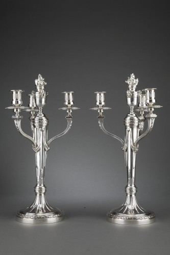 Antique Silver  - Goldsmith A. AUCOC - Pair of 19th century solid silver candelabra