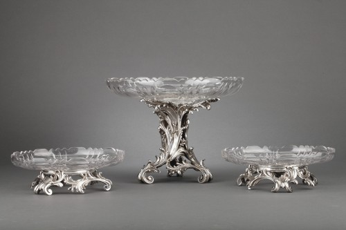 Orfèvre Cardeilhac - Table set formed by three cups in solid silver and cut crystal - Antique Silver Style Napoléon III