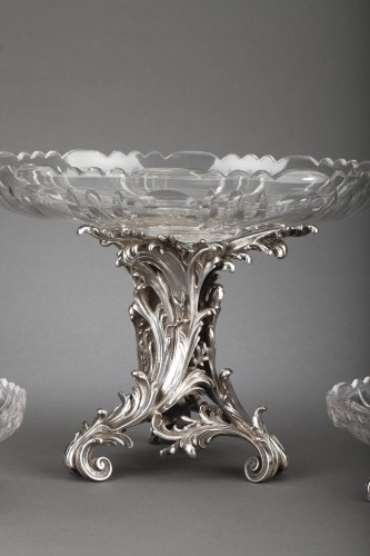 Antique Silver  - Orfèvre Cardeilhac - Table set formed by three cups in solid silver and cut crystal