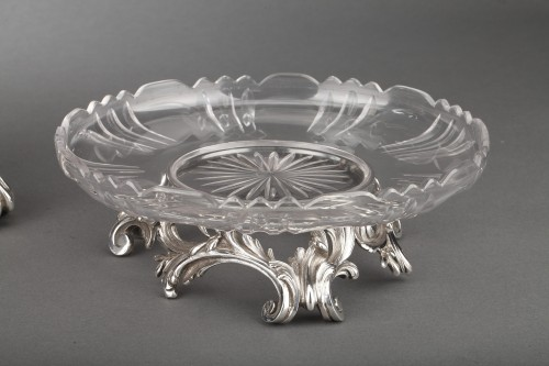 19th century - Orfèvre Cardeilhac - Table set formed by three cups in solid silver and cut crystal