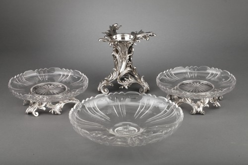 Orfèvre Cardeilhac - Table set formed by three cups in solid silver and cut crystal - Napoléon III