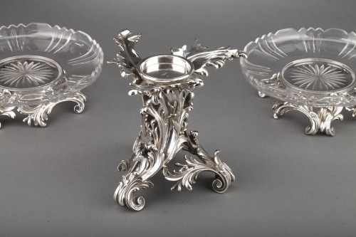 Napoléon III - Orfèvre Cardeilhac - Table set formed by three cups in solid silver and cut crystal
