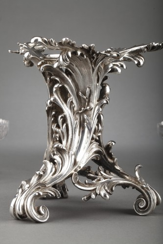 Antiquités - Orfèvre Cardeilhac - Table set formed by three cups in solid silver and cut crystal