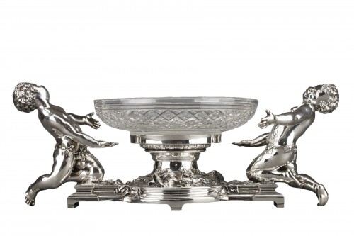 Goldsmith CHRISTOFLE - Centerpiece in silvered bronze and 19th  crystal