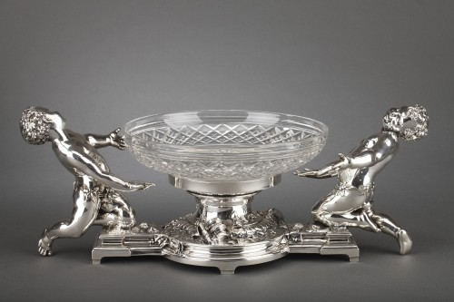 Goldsmith CHRISTOFLE - Centerpiece in silvered bronze and 19th  crystal - Antique Silver Style Napoléon III