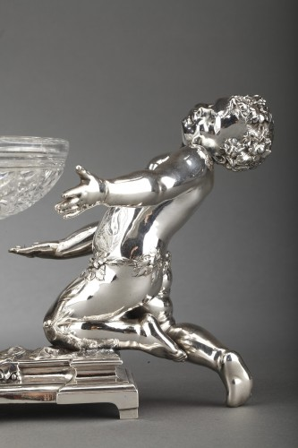 Antique Silver  - Goldsmith CHRISTOFLE - Centerpiece in silvered bronze and 19th  crystal
