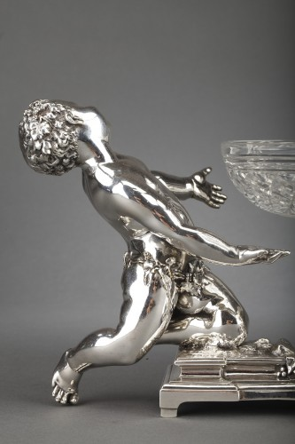 Goldsmith CHRISTOFLE - Centerpiece in silvered bronze and 19th  crystal -